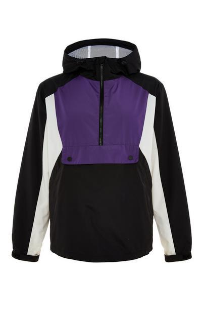 Black/Purple Colorblock Pullover Jacket