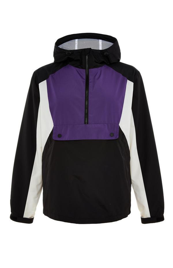 Black And Purple Colourblock Overhead Jacket