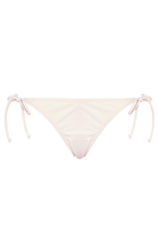 Elfenbeinfarbene Bikinihose mit seitlicher Schnürung