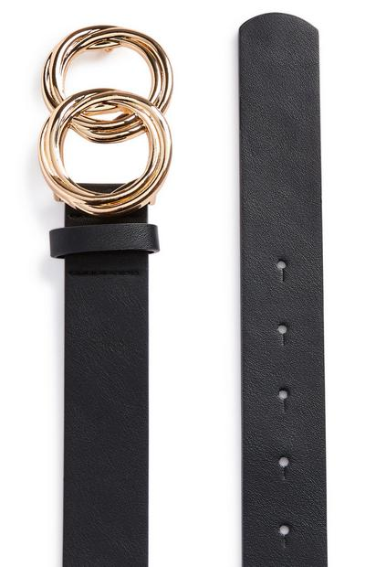 Black Twisted Goldtone Buckle Infinity Belt