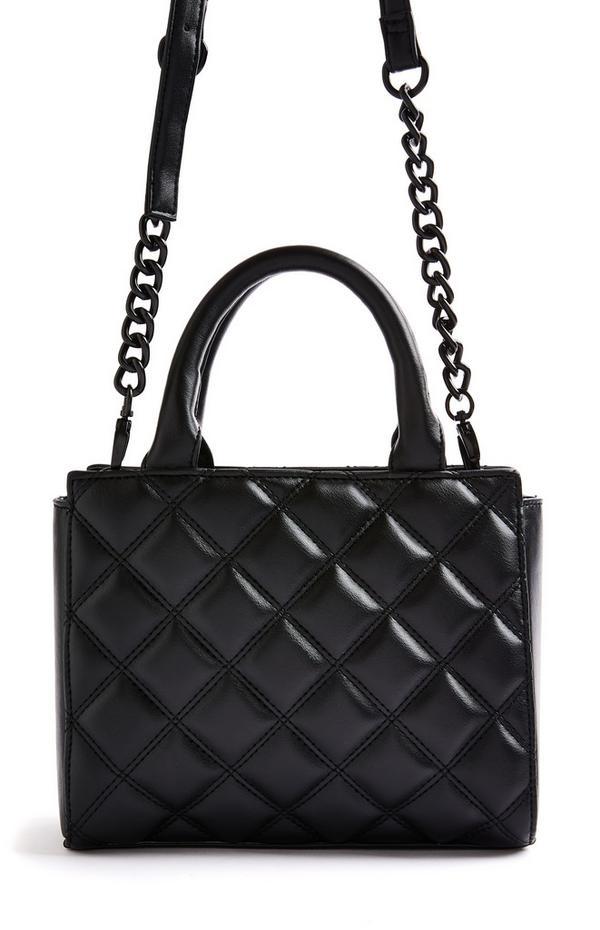 Schwarze, gesteppte Mini-Citytasche