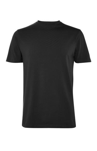 Black Stretch Crew Neck T-Shirt