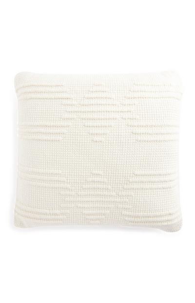 Cojín blanco con acabado texturizado de 50cm x 50cm