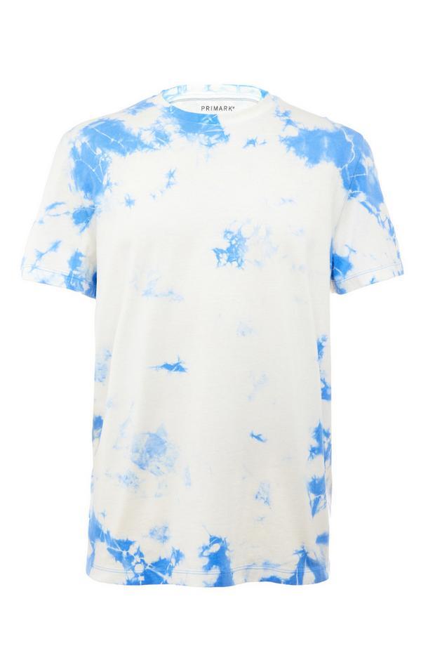 Blaues T-Shirt in Batikoptik