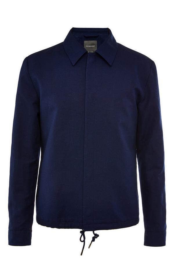 Premium donkerblauw linnen bomberjack met trekkoord
