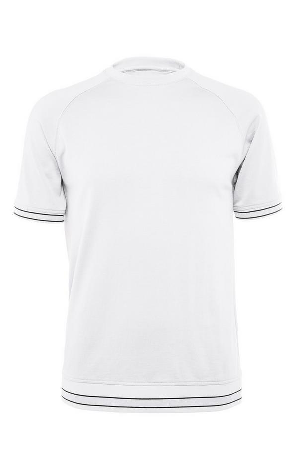 Bela kompaktna majica iz merceriziranega bombaža z okroglim ovratnikom