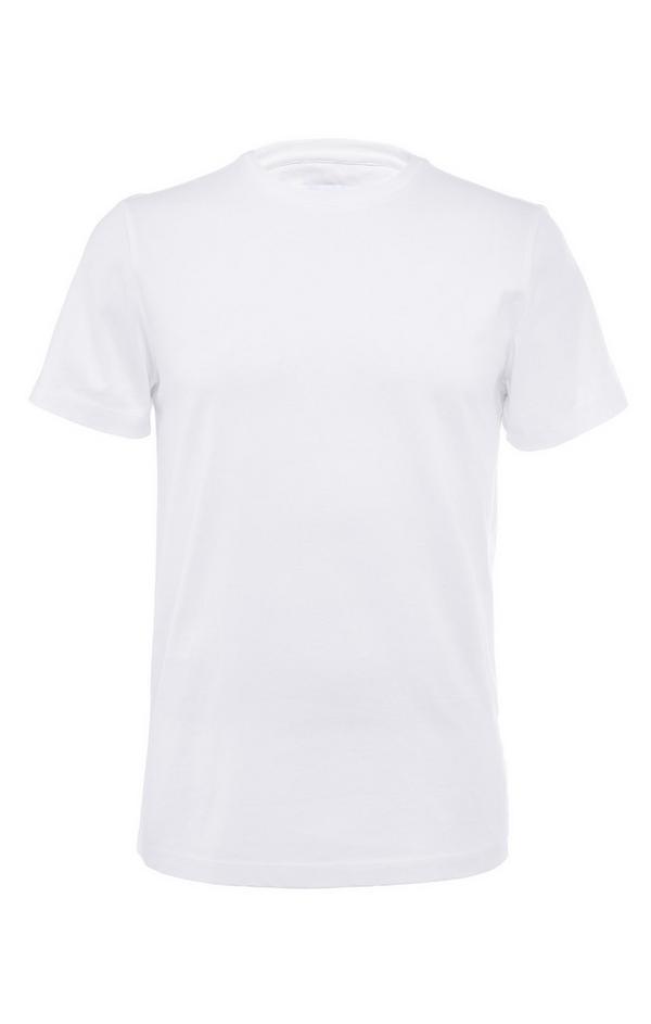 T-shirt bianca a girocollo compatta in cotone mercerizzato premium