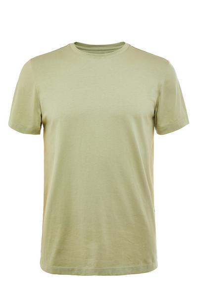 Camiseta verde de algodón premium mercerizado con cuello redondo
