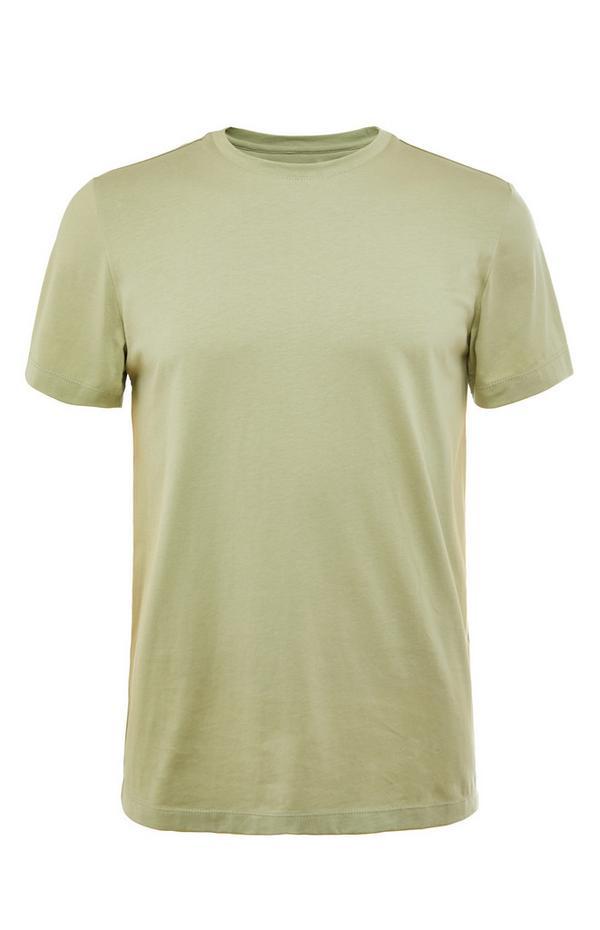 T-shirt verde a girocollo in cotone mercerizzato premium
