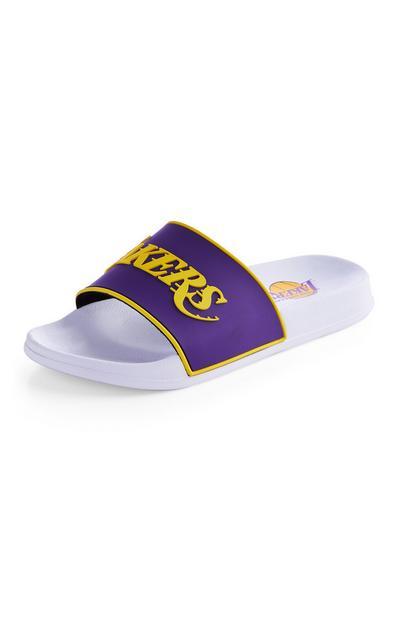 Chanclas blancas y moradas de Los Angeles Lakers de la NBA