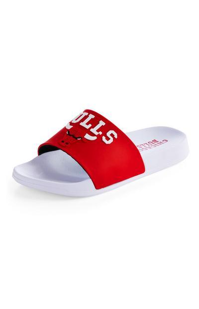 Claquettes blanches et rouges NBA Chicago Bulls
