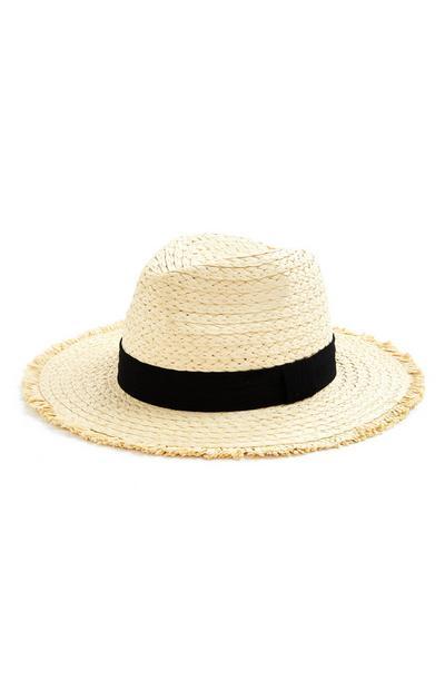 Straw Frayed Edge Panama Hat