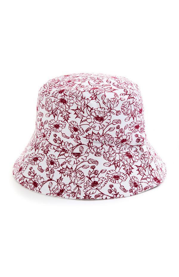 Roter Wende-Fischerhut mit Blumenmuster