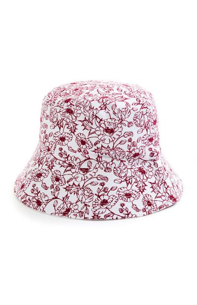 Reversible Red Floral Print Bucket Hat