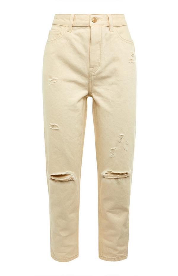Ecru jeans met scheuren en hoge taille