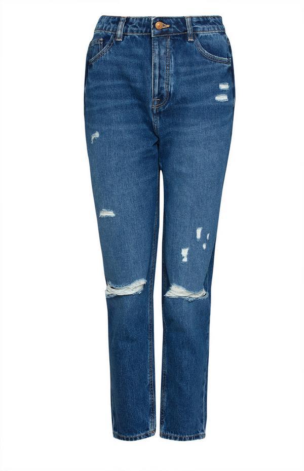 Blaue Mom-Jeans im Used-Look