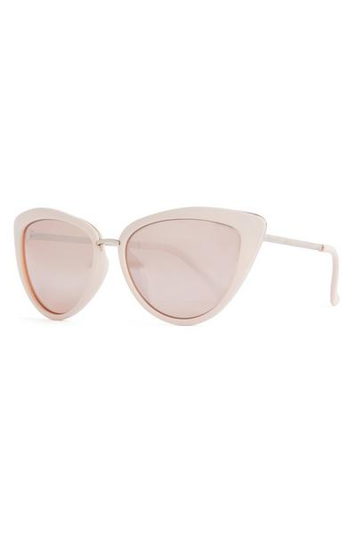 Blush Pink Metal Trim Cat Eye Sunglasses