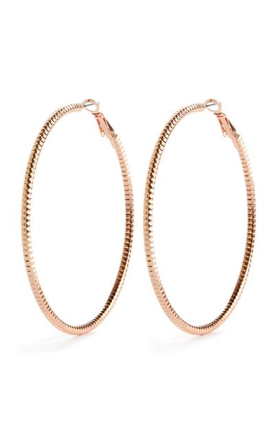 Sparkle Cut Rose Goldtone Hoop Earrings