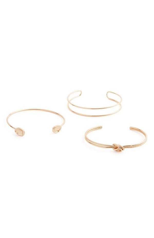 Goudkleurige armbanden met knoop en stras, set van 3
