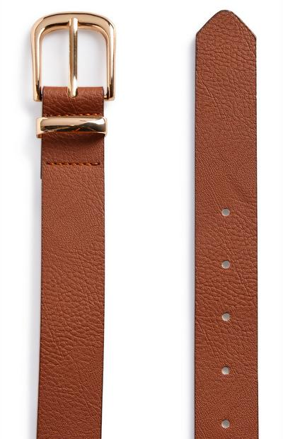 Tan Goldtone Buckle Jeans Belt