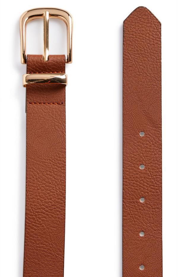 Cintura per jeans color cuoio con fibbia dorata