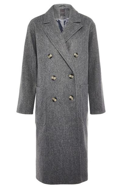 Grey Longline Double Breasted Slouchy Coat