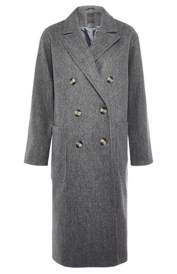 Abrigo largo gris holgado con doble botonadura