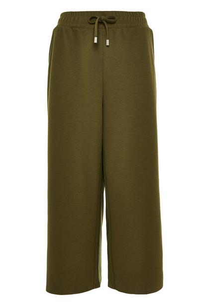 Jupe-culotte kaki nouée à la taille