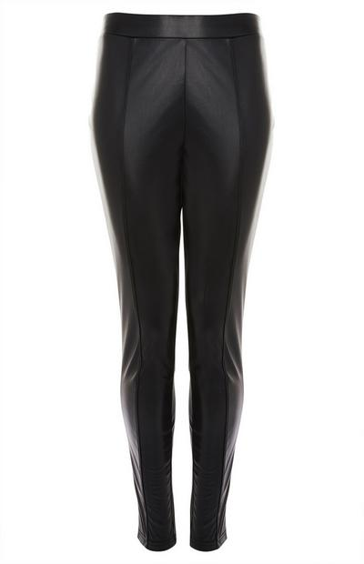 Black Faux PU Leather Pintuck Leggings
