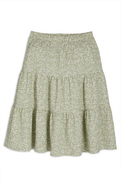 Older Girl Green Floral Midi Skirt