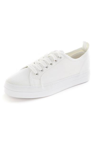 White Recycled Lace Up Trainers
