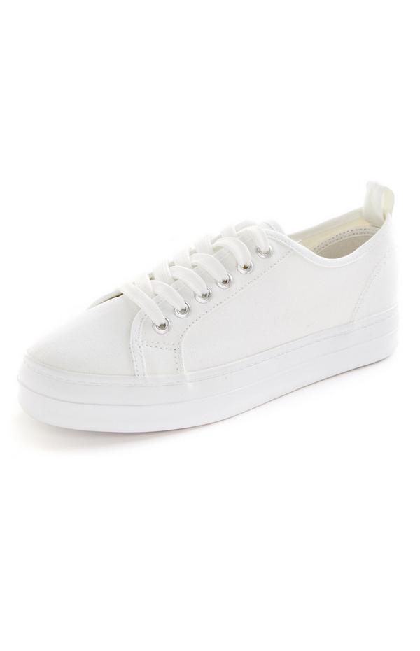 White Recycled Lace Up Sneakers