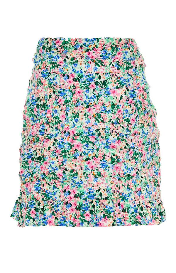 Floral Ruched Mini Skirt