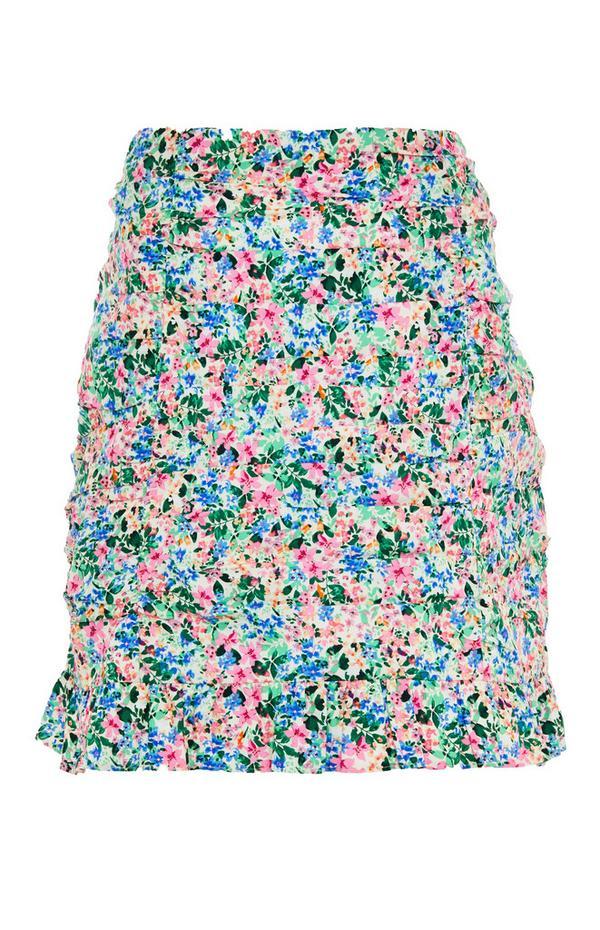 Mini-jupe froncée fleurie