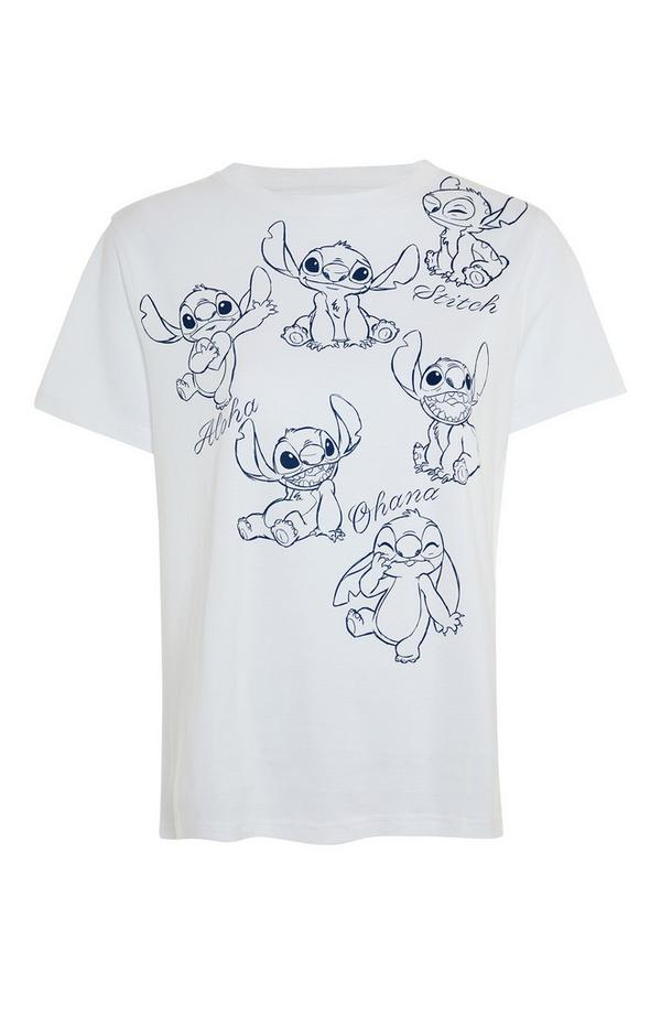 White Lilo And Stitch Print T-Shirt