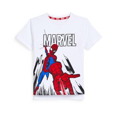 T-shirt blanc à imprimé Marvel Spiderman garçon
