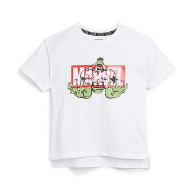 Wit T-shirt met Marvel Hulk-print voor jongere jongens