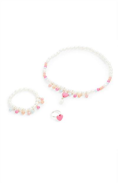 Conjunto de 3 piezas de bisutería con corazones y perlas