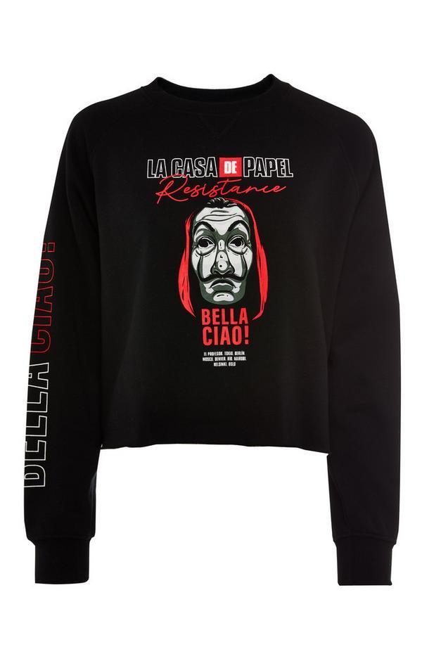 Black La Casa De Papel Cropped Sweatshirt