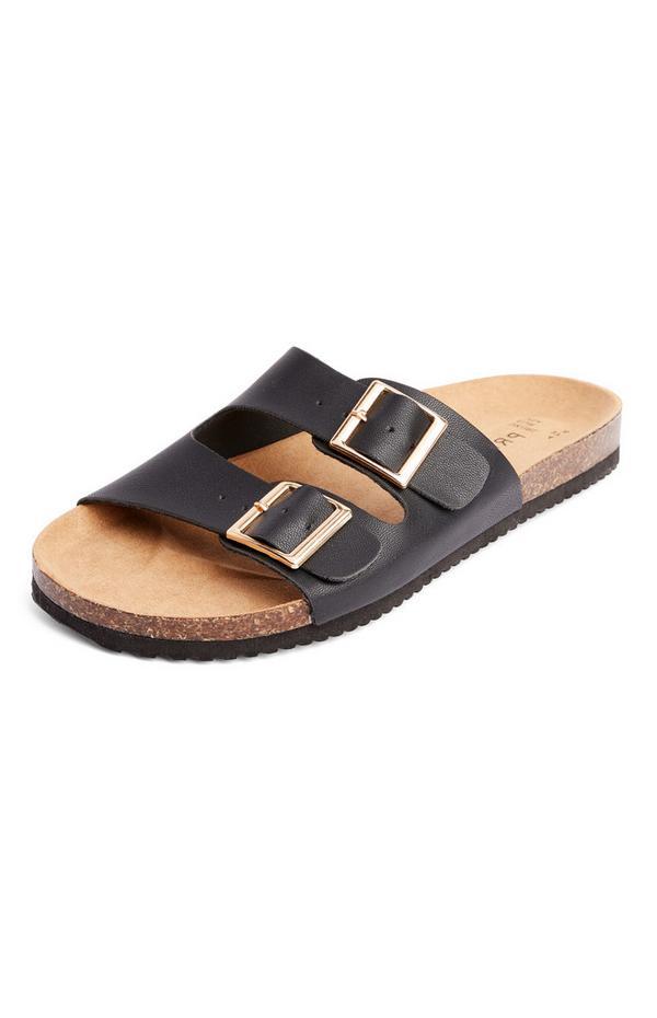 Zwarte slippers met voetbed en twee banden
