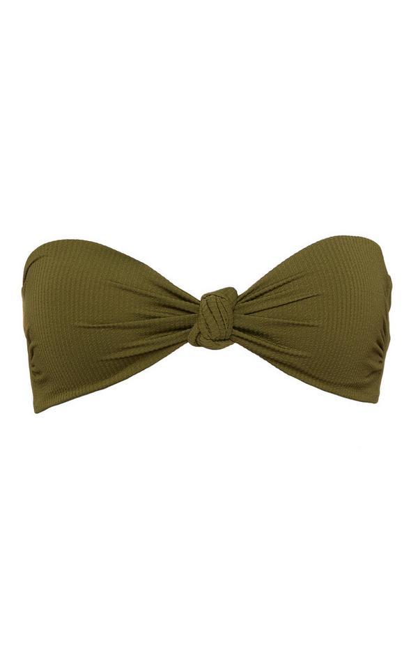 Khaki Knot Front Bandeau Bikini Top