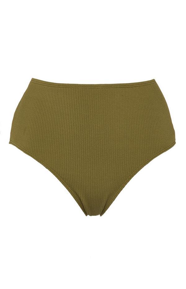 Khaki Mid Waist Bandeau Bikini Bottoms