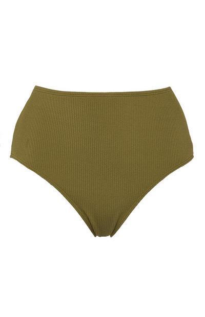Culotte de bikini bandeau kaki à taille mi-haute