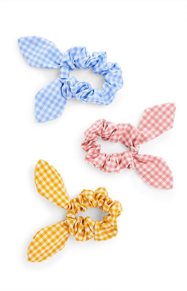 3-Pack Pastel Gingham Scrunchies