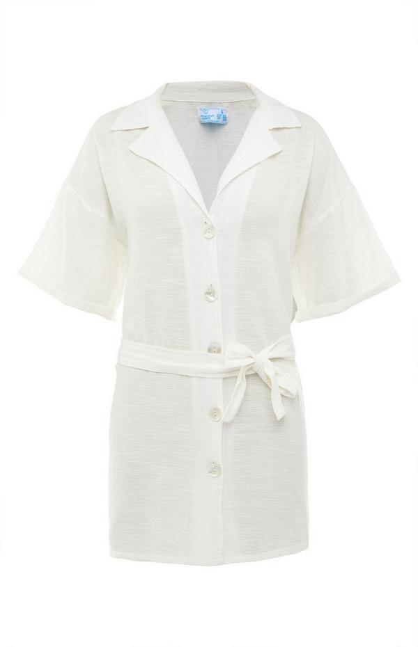 White Tie Waist Resort Shirt Top