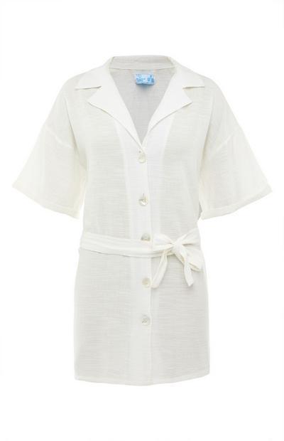Bela srajca z zavezovanjem v pasu Resort