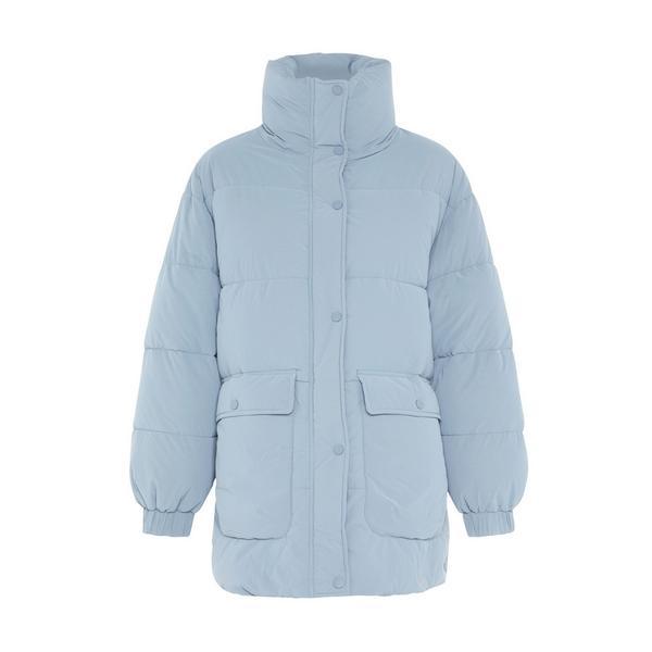 Poederblauwe oversized doorgestikte jas Primark Cares