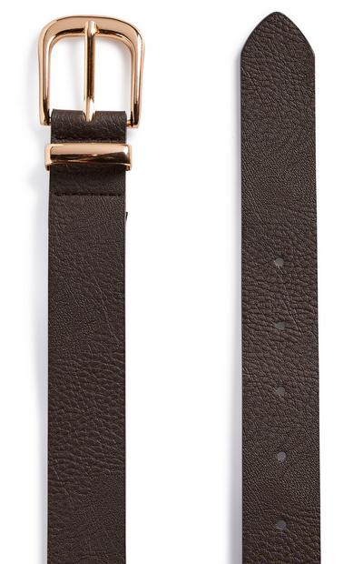 Chocolate Brown Goldtone buckle Jeans Belt