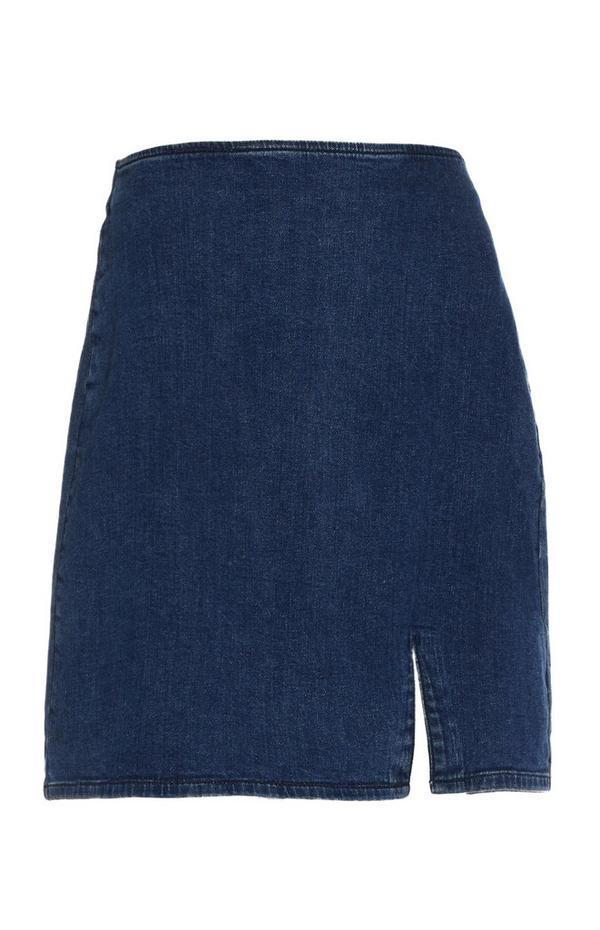 Dark Blue Denim Side Split Skirt