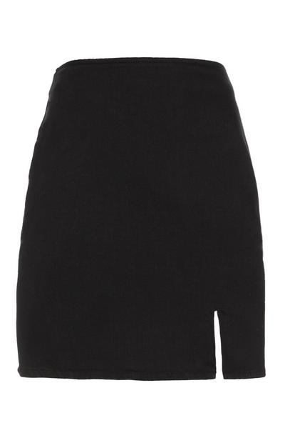 Black Denim Side Split Skirt